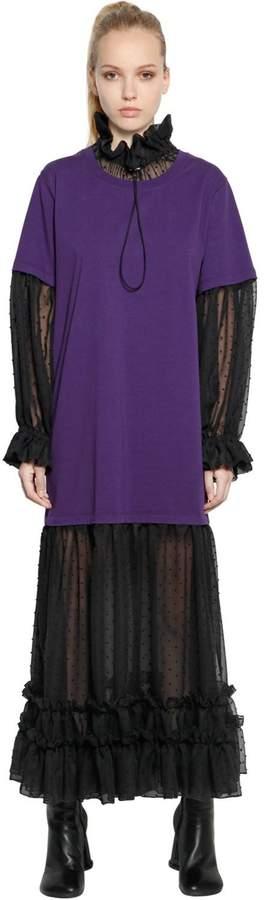 MM6 MAISON MARGIELA Polka Dot Chiffon & Cotton Jersey Dress