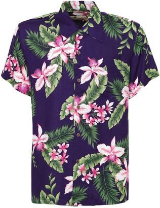 Karmakula Cayo Purple Printed Hawaiian Shirt