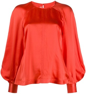 McQ Swallow Bell Sleeve Silk Blouse