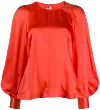 Mcq Swallow Bell Sleeve Silk Blouse