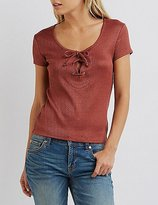Charlotte Russe Ribbed Lace-Up Top