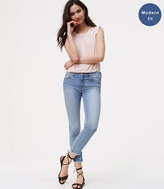 LOFT Petite Modern Frayed Skinny Crop Jeans in Authentic Light Indigo Wash
