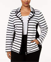 Karen Scott Plus Size Striped Knit Jacket, Created for Macy's