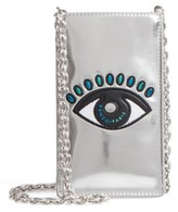 Kenzo Icons Eye Leather Phone Case On A Chain - Metallic