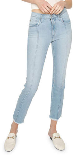 James Jeans Piper Cropped Skinny Jeans w/ Frayed Hem