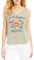 Miss Me Floral Embroidered Graphic Tank Top