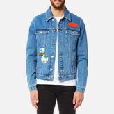 Kenzo Denim Jacket With Badges Navy Blue