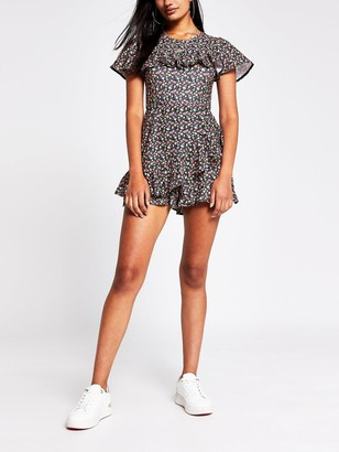 River Island Floral Ruffle Playsuit - Black