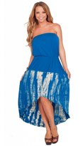 Hot From Hollywood Summer Maxi Tie Dye Colorful Beach Long Strapless Sun Dress