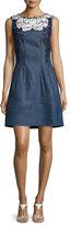 Oscar de la Renta Threadwork-Embroidered Denim Dress, Blue