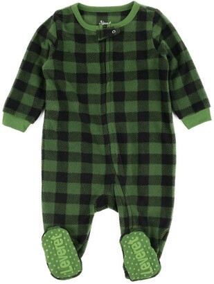 Leveret Green and Black Plaid Footed Fleece Sleeper