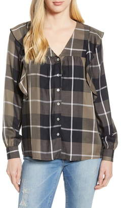 Bobeau Ruffled Plaid Shirt