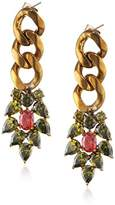 Iosselliani Brass Earrings with Olive and Orange Zircons