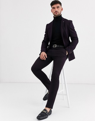 Avail London skinny suit trousers in plum