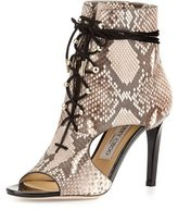 Jimmy Choo Minka Python Lace-Up Cutout Bootie, Natural/Black