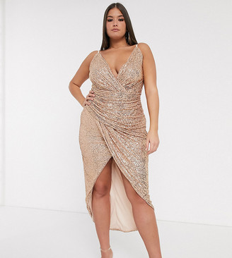 TFNC Plus wrap front sequin maxi dress in rose gold