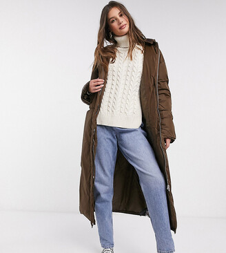 Asos Tall ASOS DESIGN Tall ruched sleeve maxi puffer coat in brown
