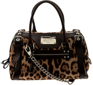 Dolce & Gabbana Leopard Print Calfhair and Leather Easy Way Satchel