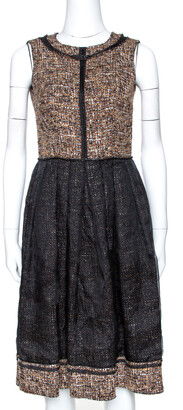 Dolce & Gabbana Black and Brown Tweed Silk Overlay Flared Dress XS