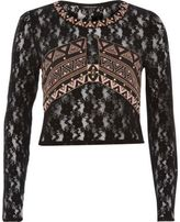 River Island Womens Black embroidered lace top