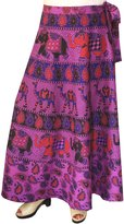 Maple Clothing Cotton Long Skirts Wrap Around Womens Indian Clothes (Purple)