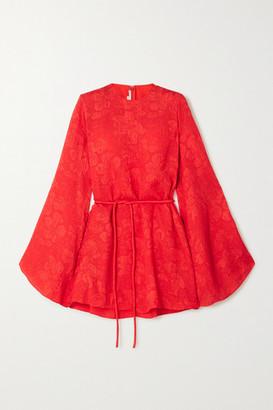 Stella McCartney Crinkled Silk-jacquard Mini Dress - Red