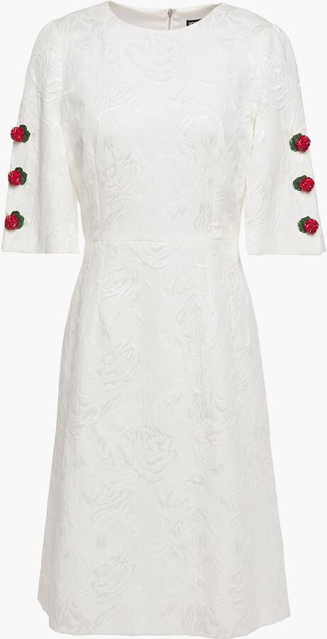 Thumbnail for your product : Dolce & Gabbana Floral-appliqued Cotton-blend Floral-jacquard Mini Dress