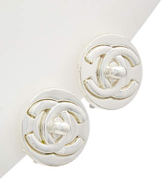 Chanel Silver-Tone Round Cc Earrings