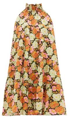 Rhode Resort Billy Tiered Floral-print Cotton Mini Dress - Brown Print