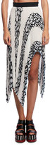 Proenza Schouler Asymmetric Pleated Cloque Midi Skirt, White Pattern