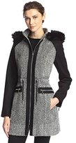 Laundry by Shelli Segal Women's Tweed Wool Coat with Hood
