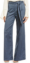 Blu Pepper Tie Front Wide Leg Pin-Stripe Chambray Pants