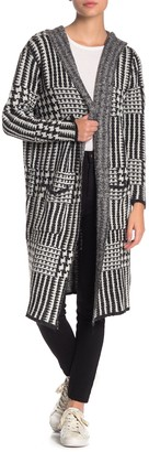 Joseph A Houndstooth Plaid Hooded Long Cardigan (Petite)