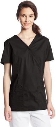 Cherokee Women's Workwear Scrubs Core Stretch Mock Wrap Top (Size 2X-5X)