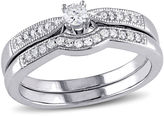 MODERN BRIDE 1/5 CT. T.W. Diamond Sterling Silver Bridal Set