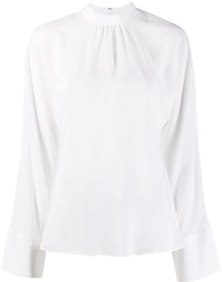 Stella McCartney Gathered-Detail High-Neck Silk Blouse