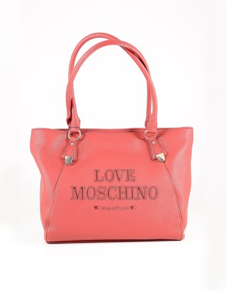 Love Moschino Red Eco Leather Signature Tote Bag