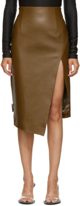 Off-White Brown Leather Split Skirt