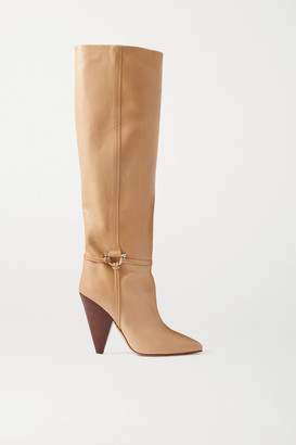 Isabel Marant Lazu Leather Knee Boots - Beige