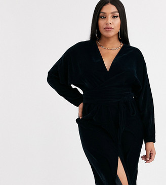 Asos DESIGN Curve midi dress with batwing sleeve and wrap waist in velvet