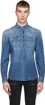 Pierre Balmain Blue Distressed Denim Shirt