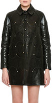 Valentino Scalloped Rockstud Leather Coat, Black