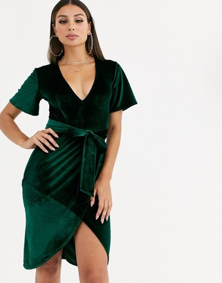 Club L London plunge neck wrap front velvet dress-Green