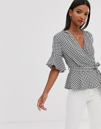 AX Paris cross over ruffle sleeve belted crop blouse-Multi