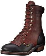 """AdTec Women's 8"""" Packer Black/Dark Cherry Work Boot,9 M US"""