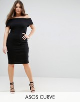 Asos Deep Bardot Midi Pencil