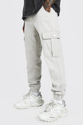 boohoo Mens Beige Twill Loose Fit Cargo Trousers With Popper Pocket, Beige