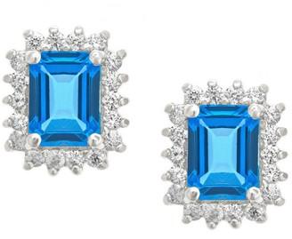 Premier Emerald Cut 1.90cttw Blue Topaz Earrings, 14K