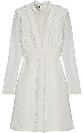 Giambattista Valli Crochet-Trimmed Ruffled Silk-Chiffon And Crepe Mini Dress