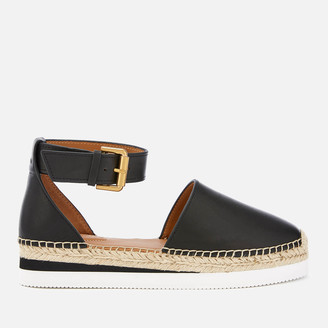 See by Chloe Women's Glyn Leather Espadrille Flat Sandals - Black
